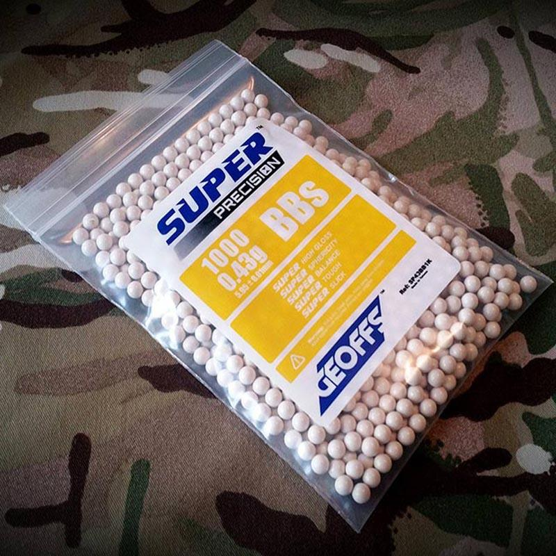 Geoffs Super Precision BBs 0,43g - 1000BBs - Blanco - Rebel Replicas