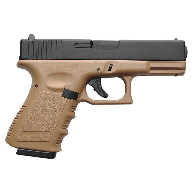 KJW Glock G23 - Gas, Blowback, Corredera de ABS, Tan - Rebel Replicas