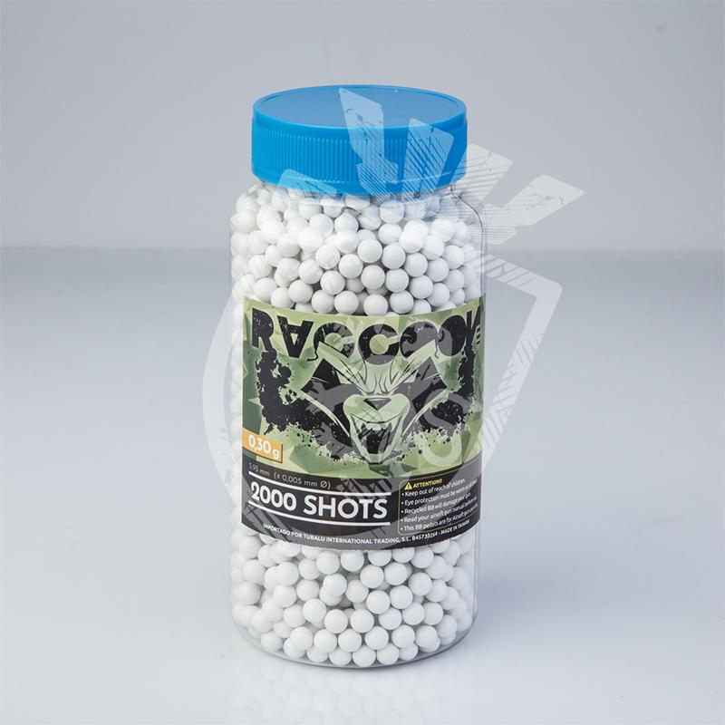 Extreme Precision BBs 0,30g - 2000BBs - Blanco - Raccoon - Rebel Replicas